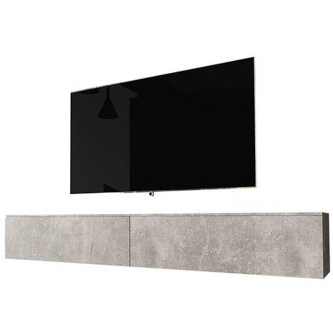 Selsey KANE - Meuble tv à suspendre / Banc tv (béton, 180 cm, sans LED)