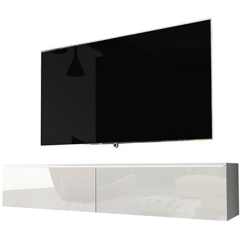 Selsey KANE - Meuble tv à suspendre / Banc tv (blanc mat / blanc brillant, 140 cm, avec LED)