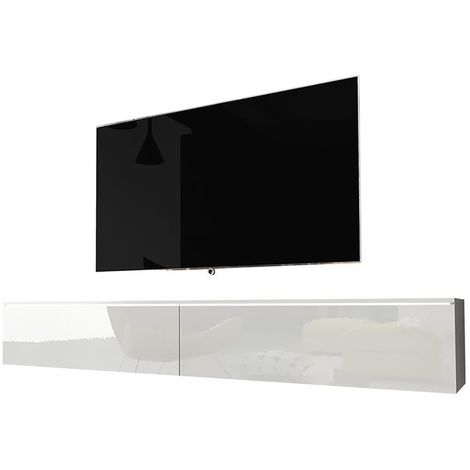Selsey KANE - Meuble tv à suspendre / Banc tv (blanc mat / blanc brillant, 180 cm, avec LED)