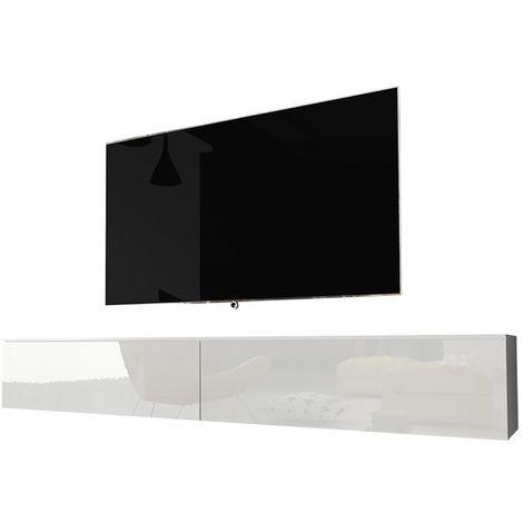 Selsey KANE - Meuble tv à suspendre / Banc tv (blanc mat / blanc brillant, 180 cm, sans LED)