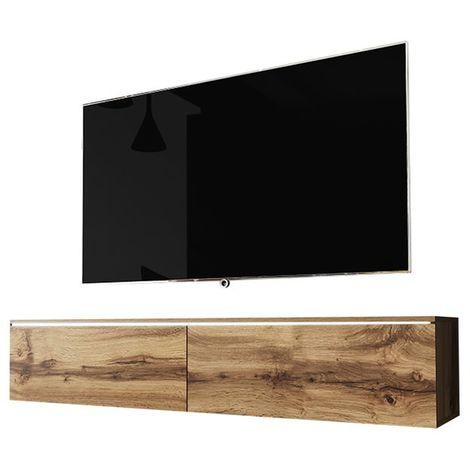 Selsey KANE - Meuble tv à suspendre / Banc tv (chêne wotan, 140 cm, avec LED)