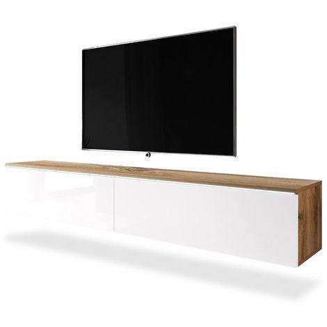 Selsey KANE - Meuble tv à suspendre / Banc tv (chêne wotan / blanc brillant, 180 cm, avec LED)