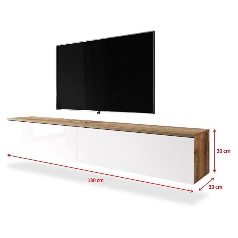 Selsey KANE Meuble tv à suspendre Banc tv (chêne wotan blanc brillant, 180 cm, sans LED)
