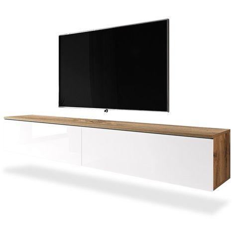 Selsey KANE - Meuble tv à suspendre / Banc tv (chêne wotan / blanc brillant, 180 cm, sans LED)