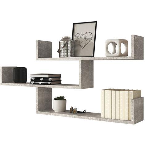 Selsey Kassi - 3 Level Floating Shelf - Smart Concrete Grey