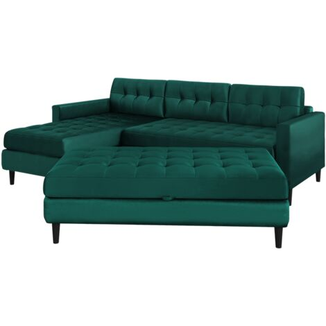 """main image of """"Selsey Kopenhaga - Corner Sofa Bed - Emerald Green - Hydrophobic Upholstery with a Pouf and Black Wooden Legs"""""""