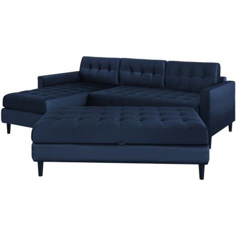 """main image of """"Selsey Kopenhaga - Corner Sofa Bed - Navy Blue - Hydrophobic Upholstery with a Pouf and Black Wooden Legs"""""""