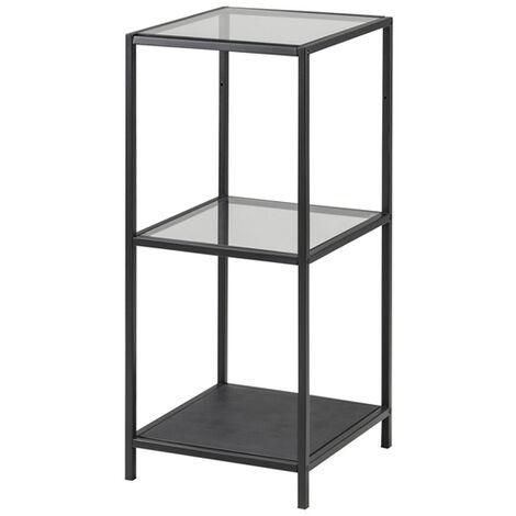 Selsey KRAPINA - Regal / Bücherregal im Industrial-Style mit Glasböden und schwarzem Metallgestell, 82,5 cm hoch