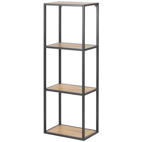 Selsey KRAPINA - Standregal / Bücherregal mit 4 Ebenen - Schwarz / Eiche - Industrial-Style - 108 cm hoch
