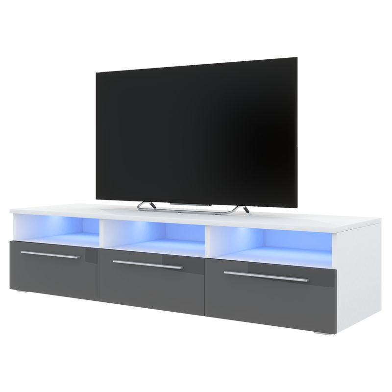 Selsey LAVELLO - TV-Lowboard stehend in Weiß Matt/Grau Hochglanz, mit 3 Klappen und LED-Beleuchtung, 140 cm