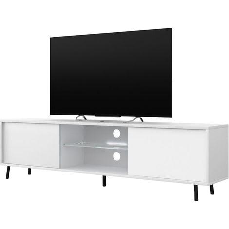 Selsey LEFYR - Meuble tv / Banc tv (blanc mat / blanc brillant, 140 cm, éclairage LED)
