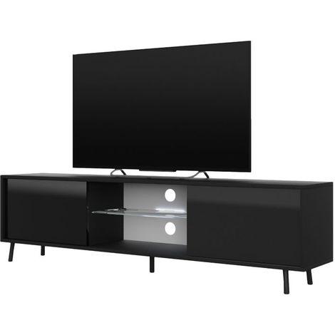 Selsey LEFYR - Meuble tv / Banc tv (noir mat / noir brillant, 140 cm, éclairage LED)