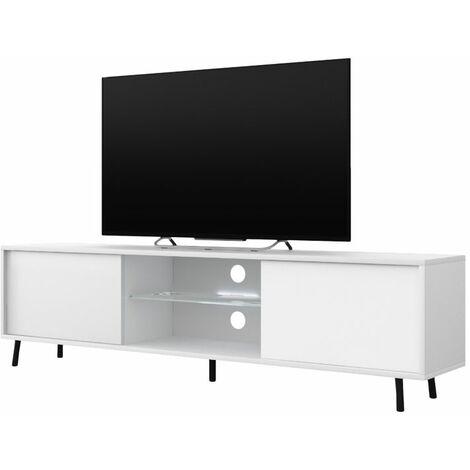 Selsey Lefyr - Mueble TV - blanco mate / blanco brillo - 140 cm - iluminación LED a pilas - moderno