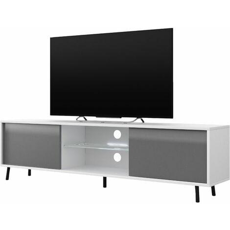 Selsey Lefyr - Mueble TV - blanco mate / gris brillo - 140 cm - iluminación LED a pilas - moderno