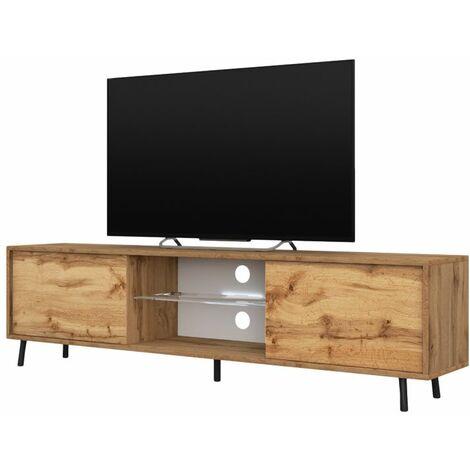 Selsey Lefyr - Mueble TV - roble wotan - 140 cm - iluminación LED a pilas - moderno