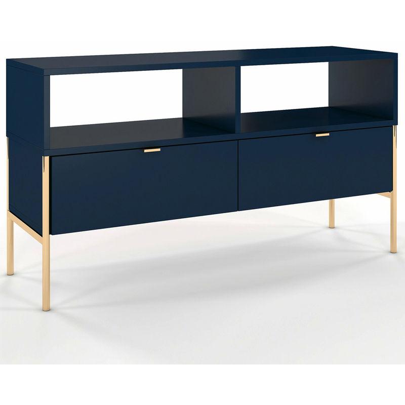 Selsey LESARI - TV-Lowboard / Fernsehschrank mit 2 Schubladen, 2 offenen Fächern, Metallgestell in Gold, 120 cm (Dunkelblau)