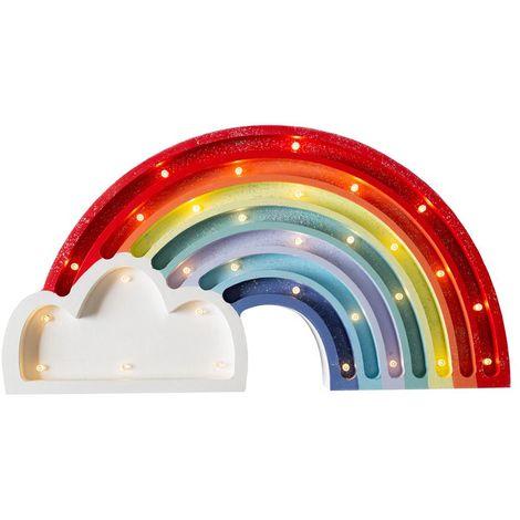 Selsey LULUMI - Lampe veilleuse / Lampe chambre enfant en forme d'arc-en-ciel pailleté (lumière chaude, ampoules LED incluses)