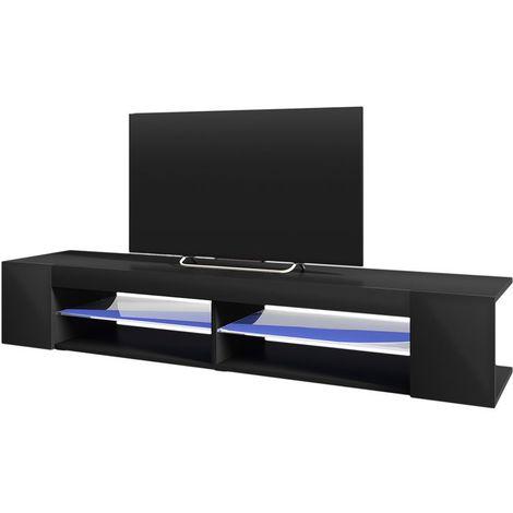 Selsey MITCHELL - Meuble TV / Meuble de salon (noir mat / noir brillant, 180 cm, avec LED