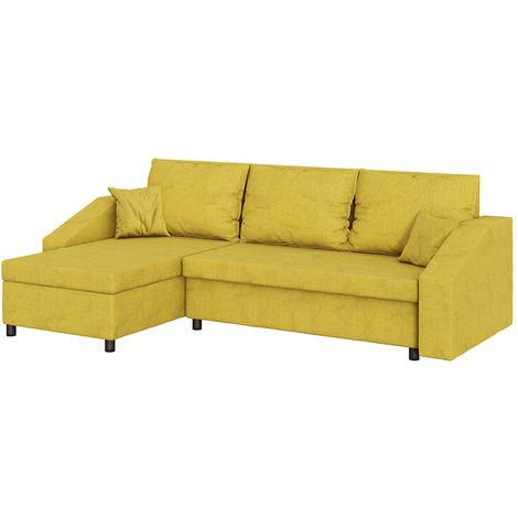 Selsey MORABOD - Ecksofa / Polsterecke mit Schlaffunktion und Bettkasten, 230 cm breit (Gelb)