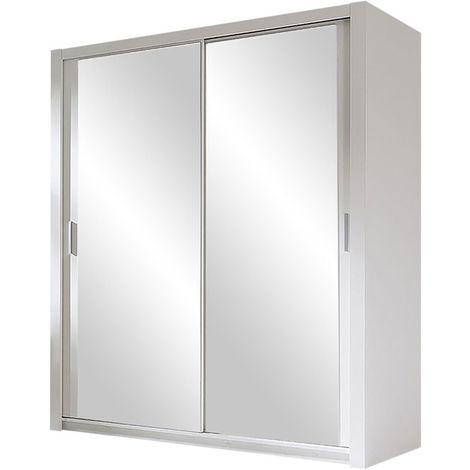 "main image of ""Selsey ORDU - Garde-robe portes coulissantes - 120 cm - blanc - avec miroir"""