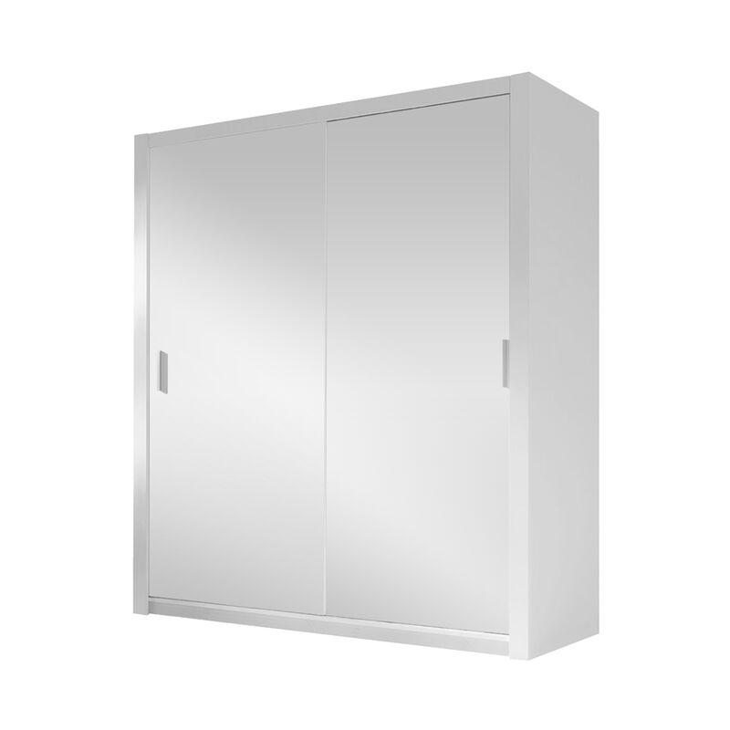 Selsey ORDU - Kleiderschrank / Schwebetürenschrank optional mit Spiegel, 120 cm breit (Weiß, ohne Spiegel)