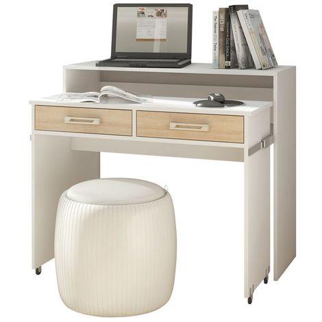 Selsey PECAN - Bureau coiffeuse / Bureau extensible - (blanc mat / chêne sonoma, 100 cm, 2 tiroirs)
