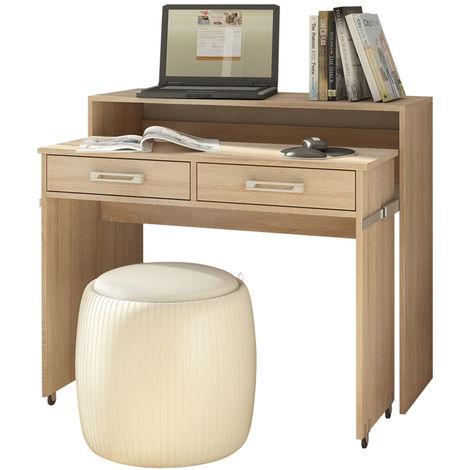 Selsey PECAN - Schreibtisch / Computertisch Ausziehbar mit Rollen, Schubladen und Aufsatz (Sonoma Eiche Matt)