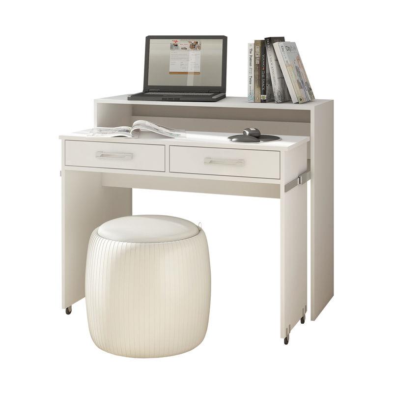 PECAN - Schreibtisch / Computertisch Ausziehbar mit Rollen, Schubladen und Aufsatz (Weiß Matt) - Selsey