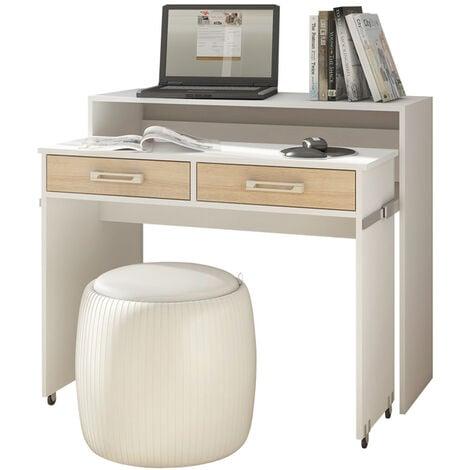 Selsey PECAN - Schreibtisch / Computertisch Ausziehbar mit Rollen, Schubladen und Aufsatz (Weiß Matt / Sonoma Eiche Matt)