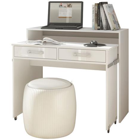 Selsey PECAN - Schreibtisch / Computertisch Ausziehbar mit Rollen, Schubladen und Aufsatz (Weiß Matt / Weiß Hochglanz)