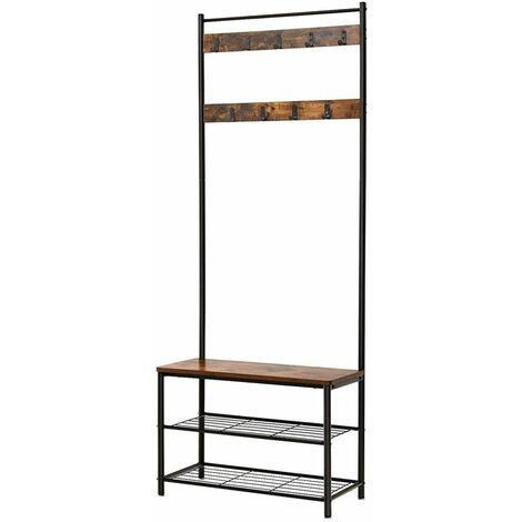 Selsey PERPARIT - Meuble d'entrée / Vestiaire d'entrée - 70 cm - effet bois foncé / noir - style industriel