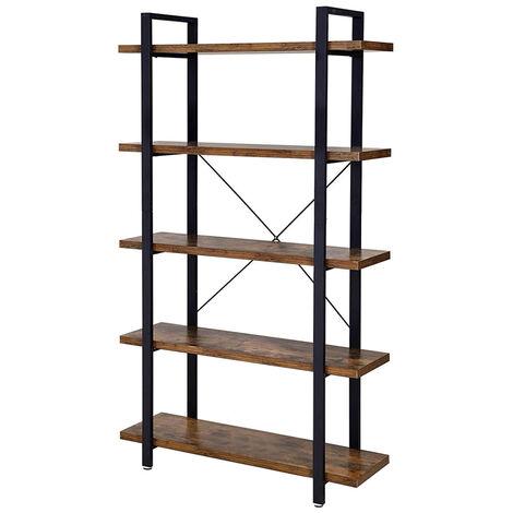 Selsey RAMIZU - Standregal / Bücherregal 5-stufig mit schwarzem Metallgestell