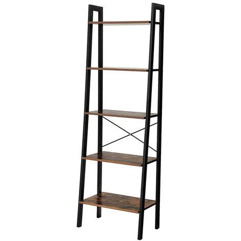 Selsey RAMIZU - Standregal / Bücherregal mit schwarzem Metallgestell, 5 Regalböden in Holzoptik, 172x56x34 cm