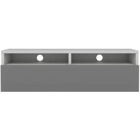 Selsey Rednaw - Mueble TV con cajón - Blanco Mate / Gris Brillo - 100 cm