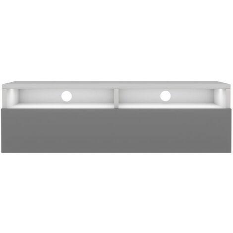 Selsey Rednaw - Mueble TV con cajón - Blanco mate / Gris brillo - 100 cm - con iluminación LED