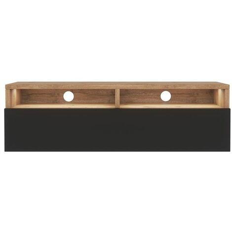 Selsey Rednaw - Mueble TV con cajón - Roble Wotan / Negro brillo - con iluminación LED - 100 cm