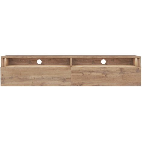 Selsey Rednaw - TV Stand with 2 Drawers - 140 cm - Wotan Oak with LED lighting