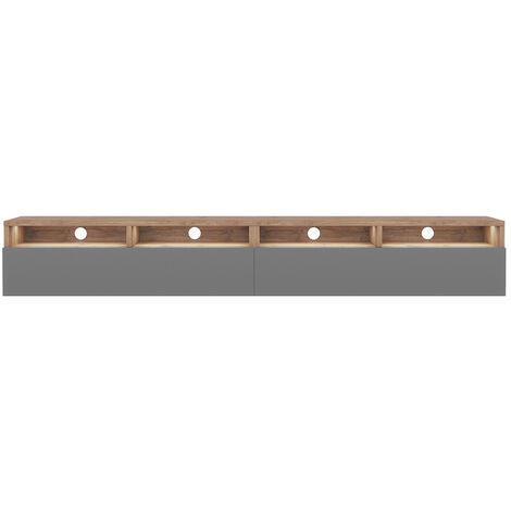 Selsey Rednaw - TV Stand with 2 Drawers - 200 cm - Wotan Oak / Grey Gloss with LED lighting