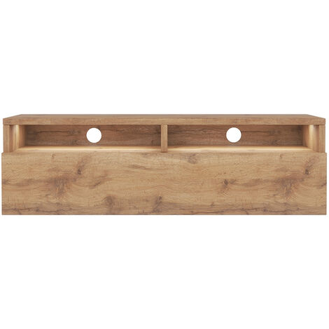 Selsey Rednaw - TV Stand with a Drawer - 100 cm - Wotan Oak with LED lighting