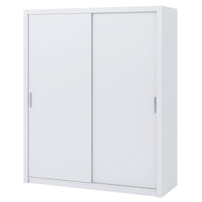 Selsey RINKER – Schwebetürenschrank / Kleiderschrank Scandi Style 2-türig mit 2 Kleiderstangen, opt. mit Spiegel, 180 cm (Weiß Matt ohne Spiegel)