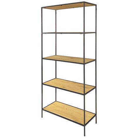 Selsey SEAFORD - Regal / Bücherregal im Industrial-Style - 5 offene Fächer - 170 cm hoch