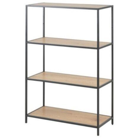 Selsey SEAFORD - Regal / Bücherregal mit 4 Ebenen - Schwarz / Eiche - Industrial-Style - 114 cm hoch