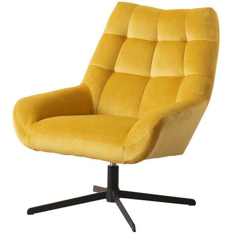 Selsey SHERLEY - Drehsessel mit gesteppten Veloursbezug in Gelb / Eleganter Sessel für Wohnzimmer