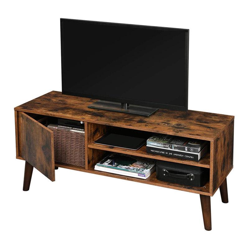 Selsey SKENDERA - TV-Lowboard / Fernsehtisch in rustikaler Holzoptik mit Holzbeinen, 110 cm breit