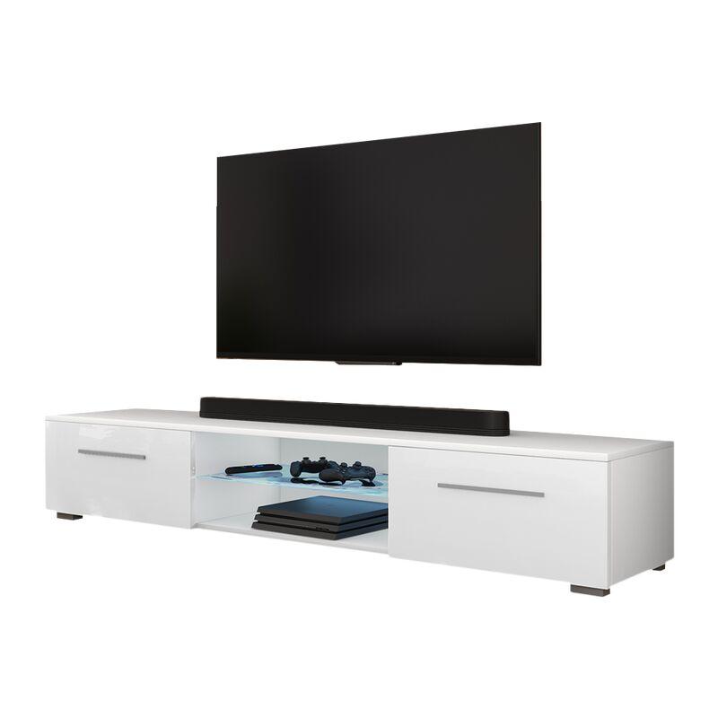 Selsey SYVIS - TV-Board / Fernsehschrank mit 2 Klapptüren/ 2 offenen Fächern/ LED-Beleuchtung, 140 cm (Weiß Matt / Weiß Hochglanz)