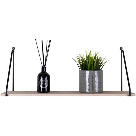 Selsey TERLATE - Wandregal / minimalistisches Hängeregal - helles Massivholz - schwarze Regalwinkel aus Metall, 65 cm breit
