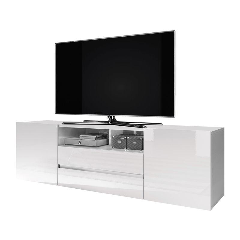 Selsey - TV-Lowboard BROS weiß mit Hochglanzfronten, stehend, modern, 137 cm