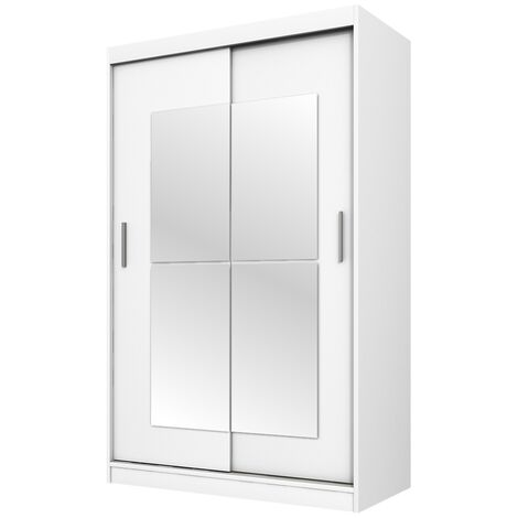 "main image of ""Selsey Vaniva - Sliding Wardrobe with Mirror - White - 120 cm"""