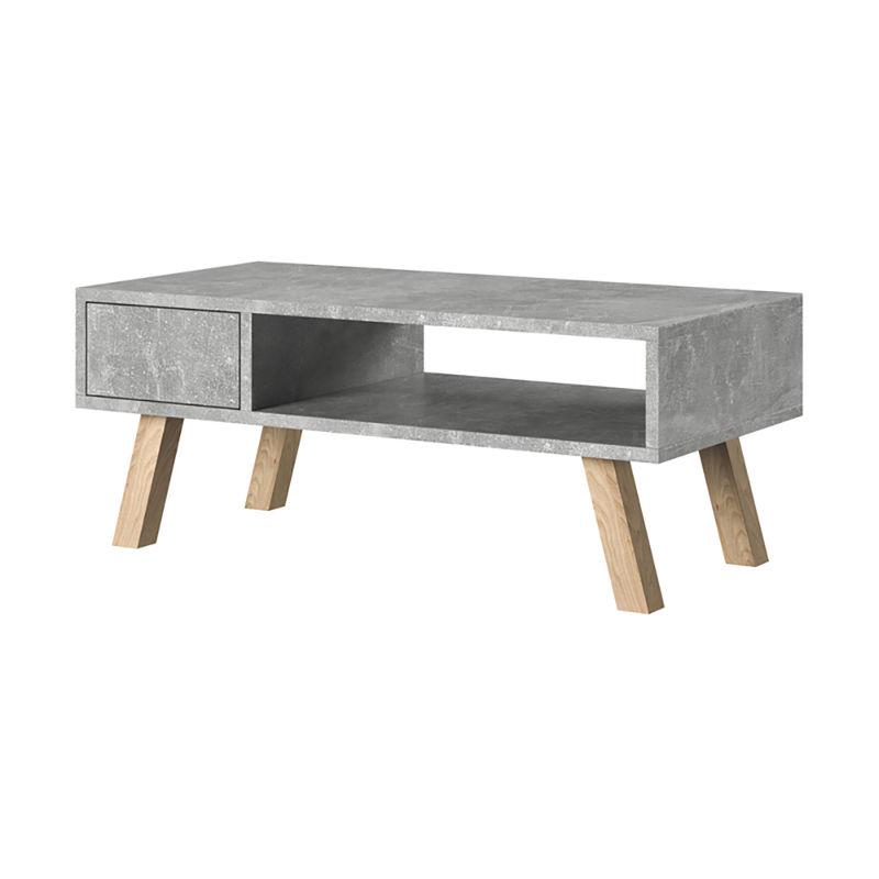 Selsey VEROZIA LIGNNUM - Couchtisch / Beistelltisch mit Ablage, Schublade, Holzbeinen (Betonoptik, 80x40 cm)