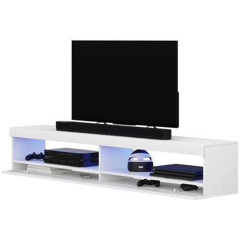 Selsey VIANSOLA - Meuble tv / Meuble de salon (blanc mat / blanc brillant, 140 cm, éclairage LED inclus)